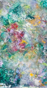 Garden #1 / Acrylic on mylar and paper / 12 in. x 22 in.