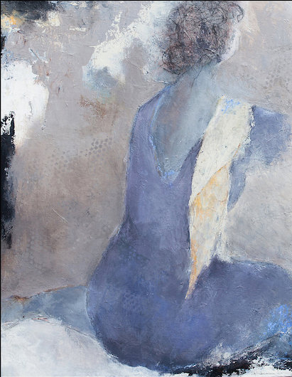 Woman Sitting 5 / Mixed Media on canvas/ 16 in. x 20 in. (SOLD)
