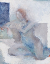Woman Sitting 4 / Mixed media on canvas / 16 in. x 20 in. / $375