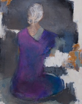 Woman Sitting 6 / Acrylic on raw canvas / 16 in. x 20 in. (SOLD)