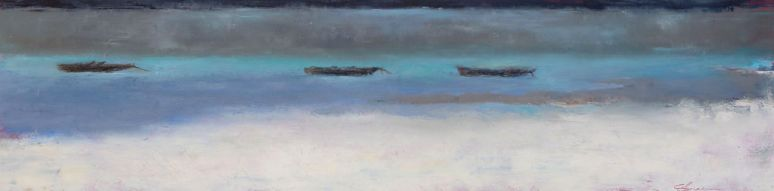 Fishing Boats / Oil on wood / 6 in. x 24 in. (SOLD)