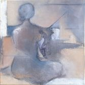 Woman Sitting #9 / Mixed media on canvas / 13 in. x 13 in. / $325 (SOLD)