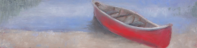 L's Red Canoe / Oil on wood / 6 in. x 24 in. (SOLD)