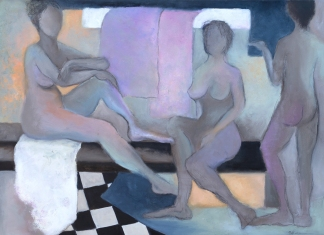 At the Baths / Mixed media on canvas / 21 in. x 29 in./ $625