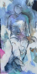 Back to Back / Mixed media on wood / 15 in. x 30 in. / $450