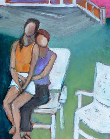 Holding Her Close (Now) / Acrylic on wood / 16 in. x 20 in. / $425