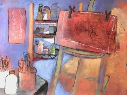 Studio / Mixed media on wood / 22 in. x 30 in. / $675