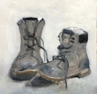Hiking Boots / Oil on wood / 12 in. x 12 in. / NFS