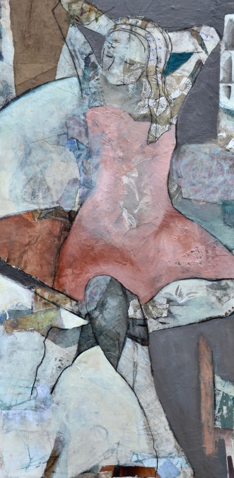 Finding Calm / Mixed media on canvas / 36 in. x 18 in. x 3 in. / $1250